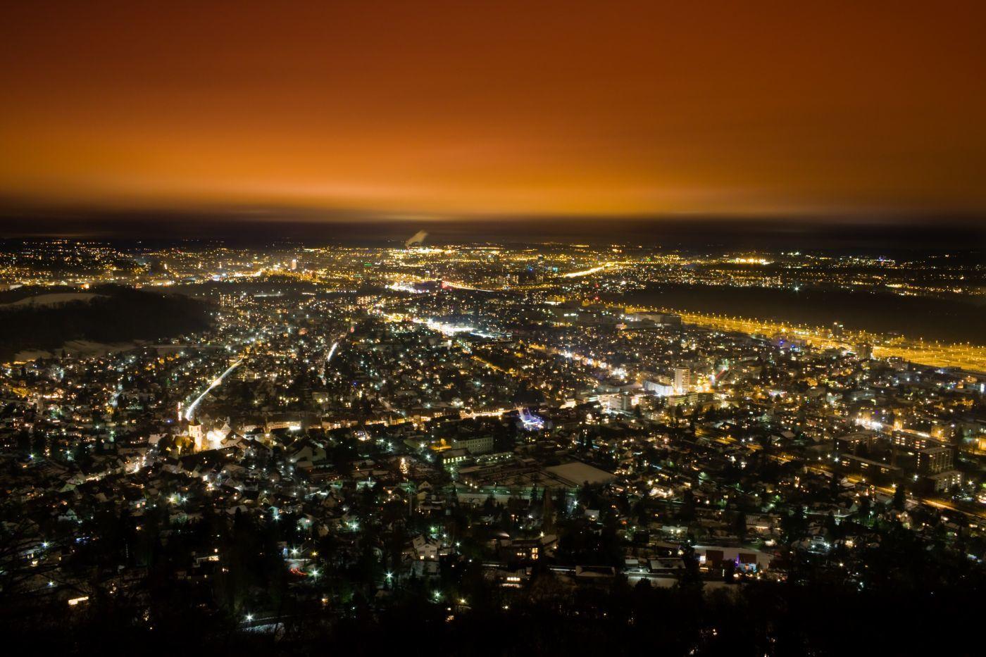 night view to Muttenz