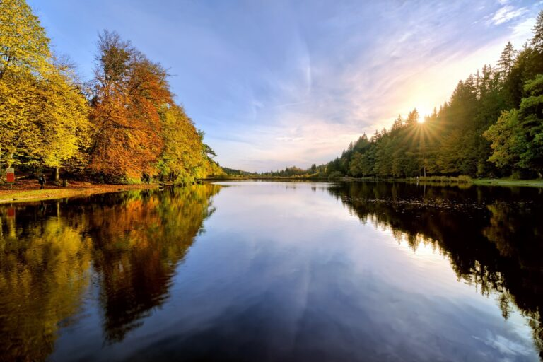 Autumn Sunset on a little Lake in Bavaria, Germany
