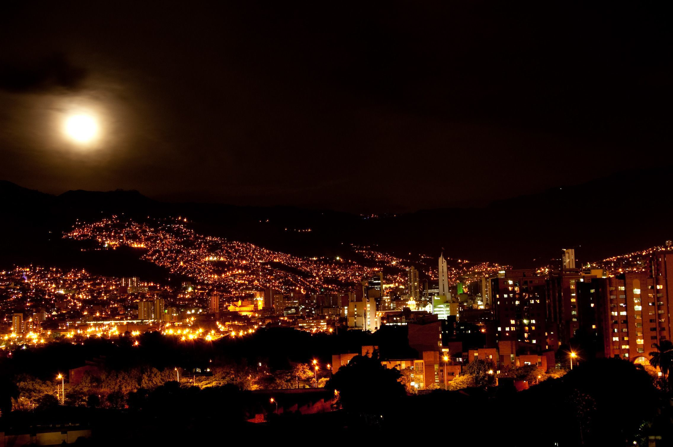 night view to medellin colombia