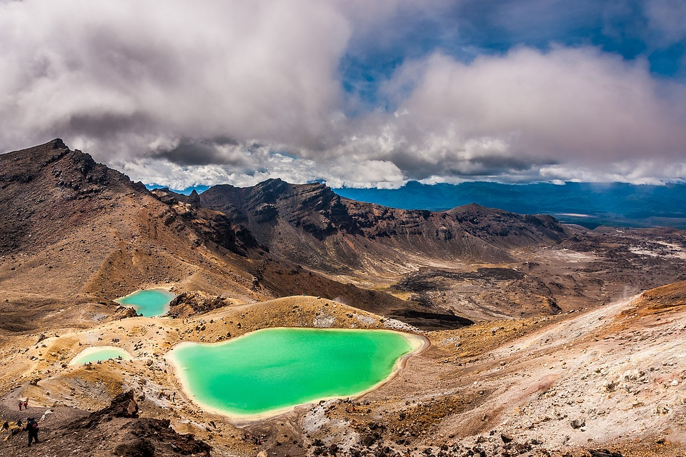 The Emerald Lakes seen from the Red Crater