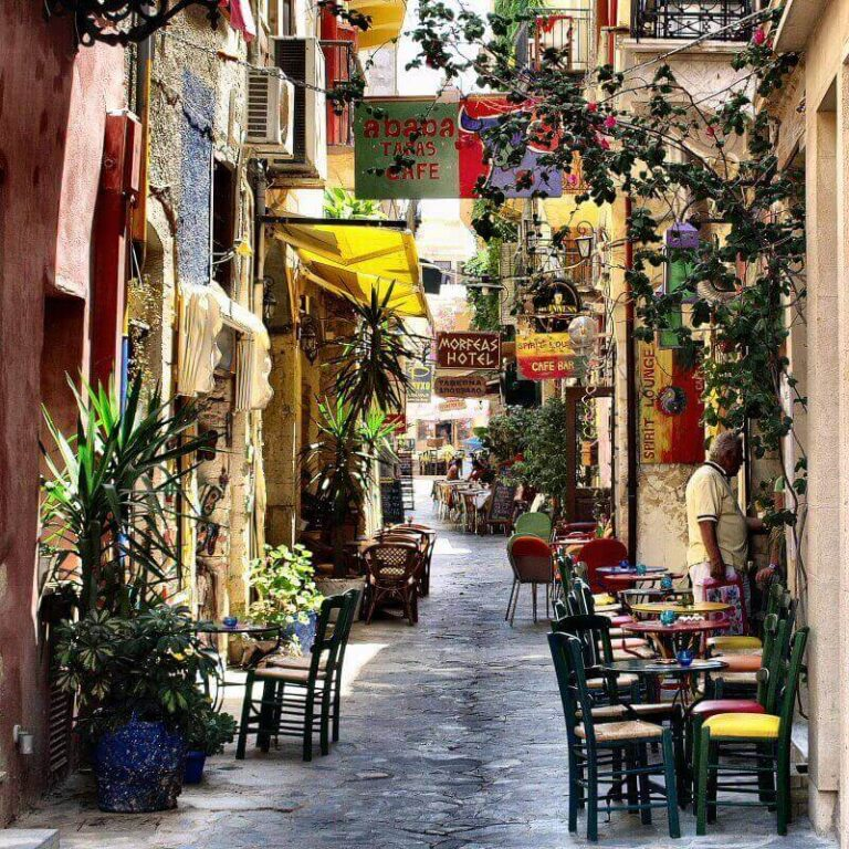 colorful street in chania